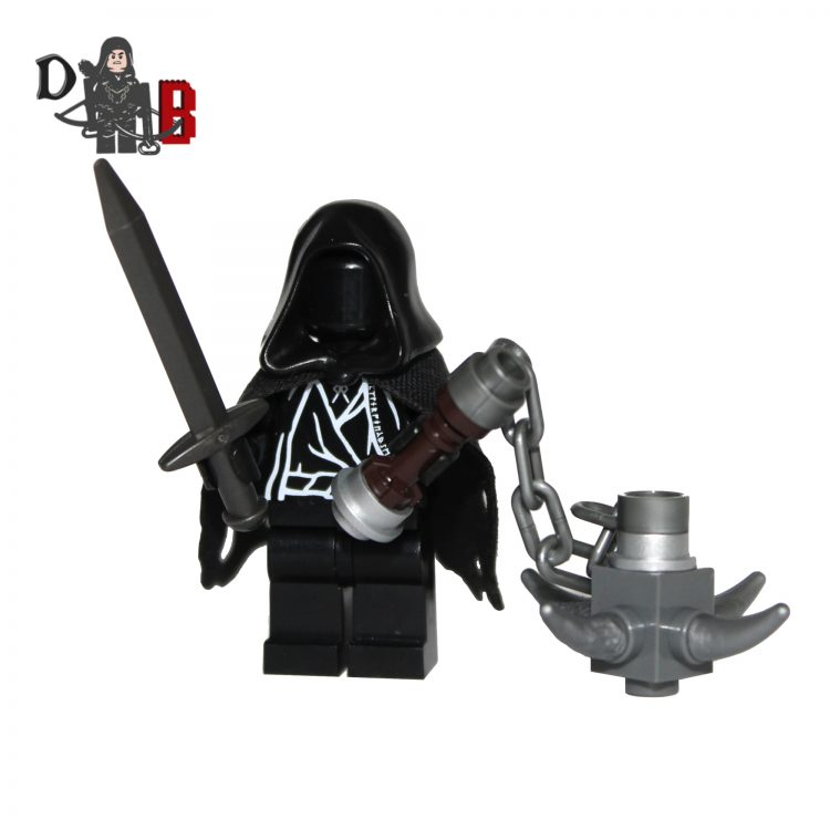 "This custom designed Minifigure is based upon the Witch king and Ringwraiths from the popular Lord of the rings Series. Includes sword and mace. Made using genuine LEGO parts except for cape which is professionally custom made. The chest has been designed by me and permanently machine printed. Each Minifigure is carefully packaged into a re-sealable bag and shipped in a bubble lined envelope for extra protection. ""LEGO® is a trademark of the LEGO Group of companies. The LEGO Group does not sponsor, authorise or endorse the modified/customised product(s) shown nor does it accept responsibility in any way, shape or form for any unforeseen and/pr adverse consequences following from such customisation/modification."""