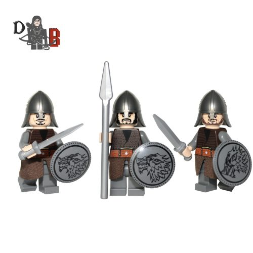 Stark Soldiers/Jon Snow Guards Minifigure pack made using LEGO parts.