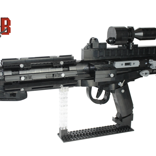 "This listing is for all the parts to build your very own Stormtrooper E-11 Blaster rifle with stand inspired by Star Wars, it comes unassembled and upon purchase I will email you a PDF copy of the instructions and send out all the pieces necessary to build it as pictured. This is a 1:1 replica of the E-11 blaster rifle from Return of the Jedi and measures 55cm in length and 27cm tall on the stand. Made using genuine LEGO parts only. Each rifle blaster is carefully packaged into a re-sealable bag and shipped in a bubble lined envelope for extra protection. ""LEGO® is a trademark of the LEGO Group of companies. The LEGO Group does not sponsor, authorise or endorse the modified/customised product(s) shown nor does it accept responsibility in any way, shape or form for any unforeseen and/pr adverse consequences following from such customisation/modification.""*Not associated with Lucas film/Star Wars/Disney."